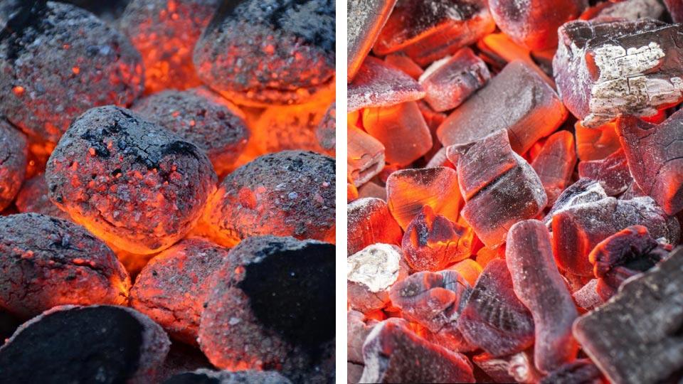 Горение угольных брикетов и древесного угля