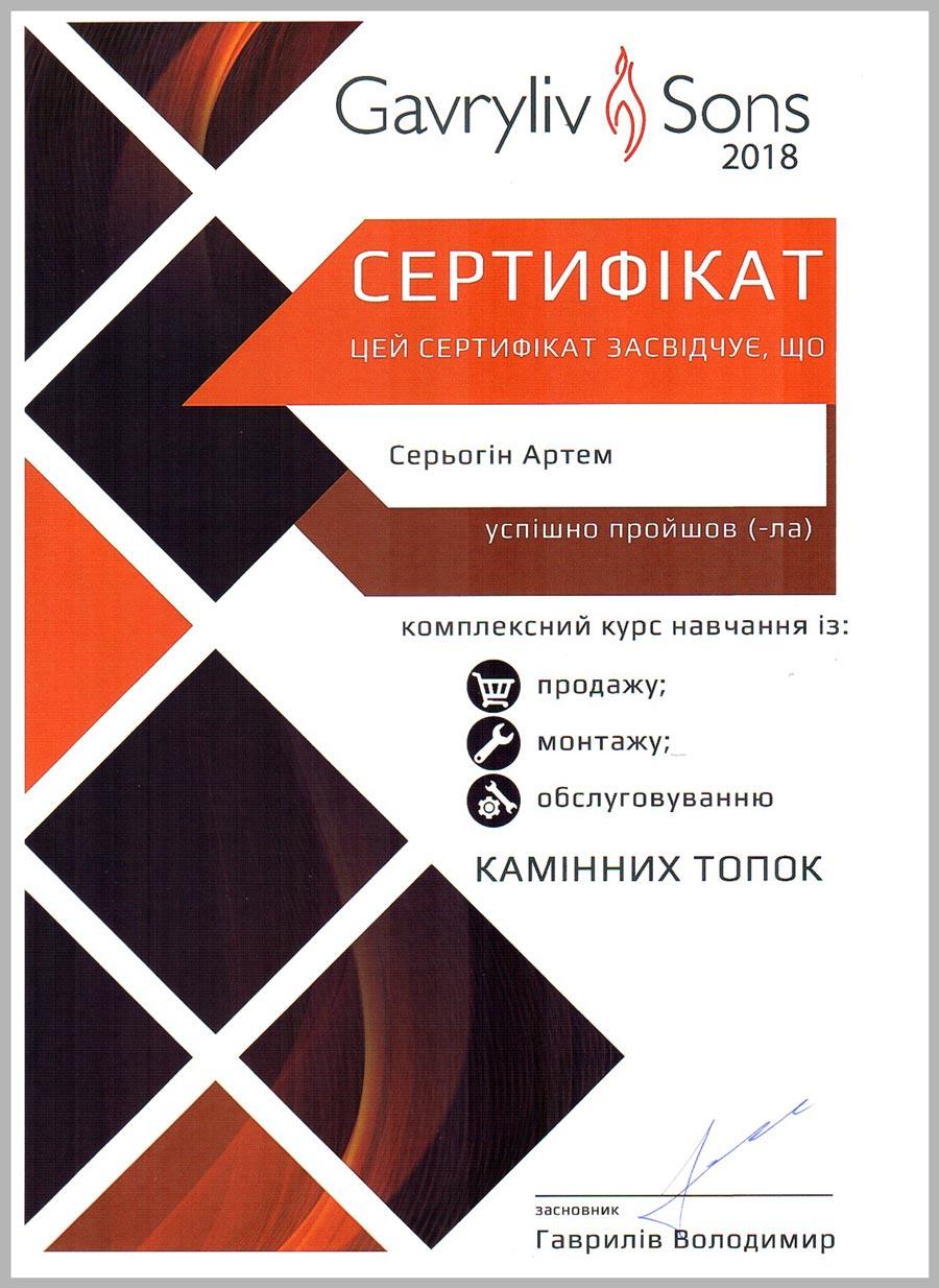 Сертификат Gavryliv & Sons выдан Серегину Артему в 2018 г